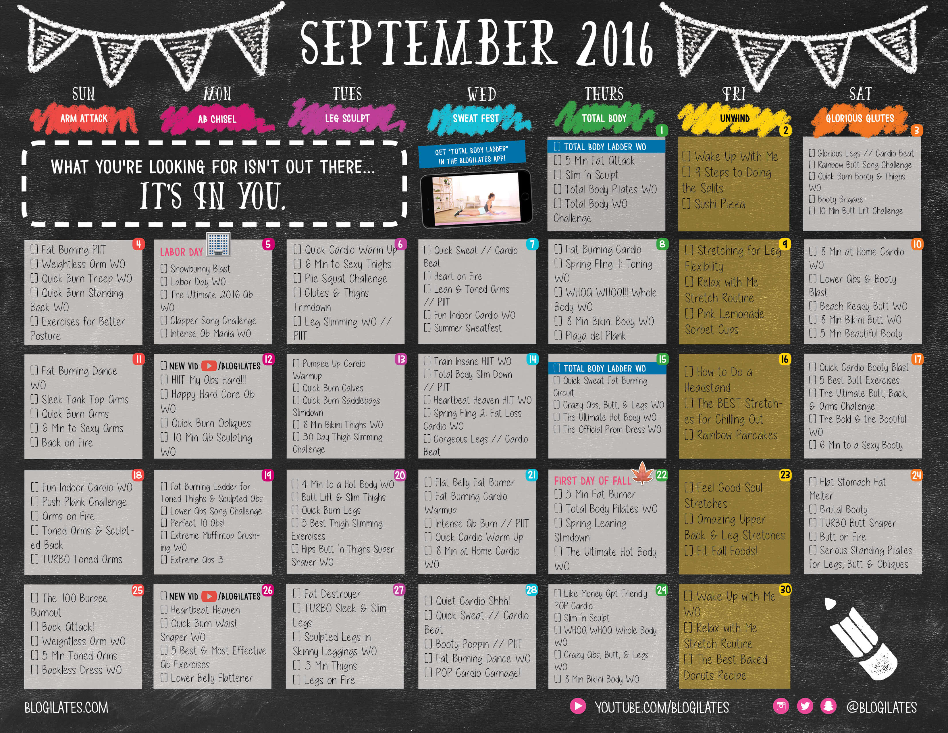 September 2016 Workout Calendar Blogilates Fitness Food And