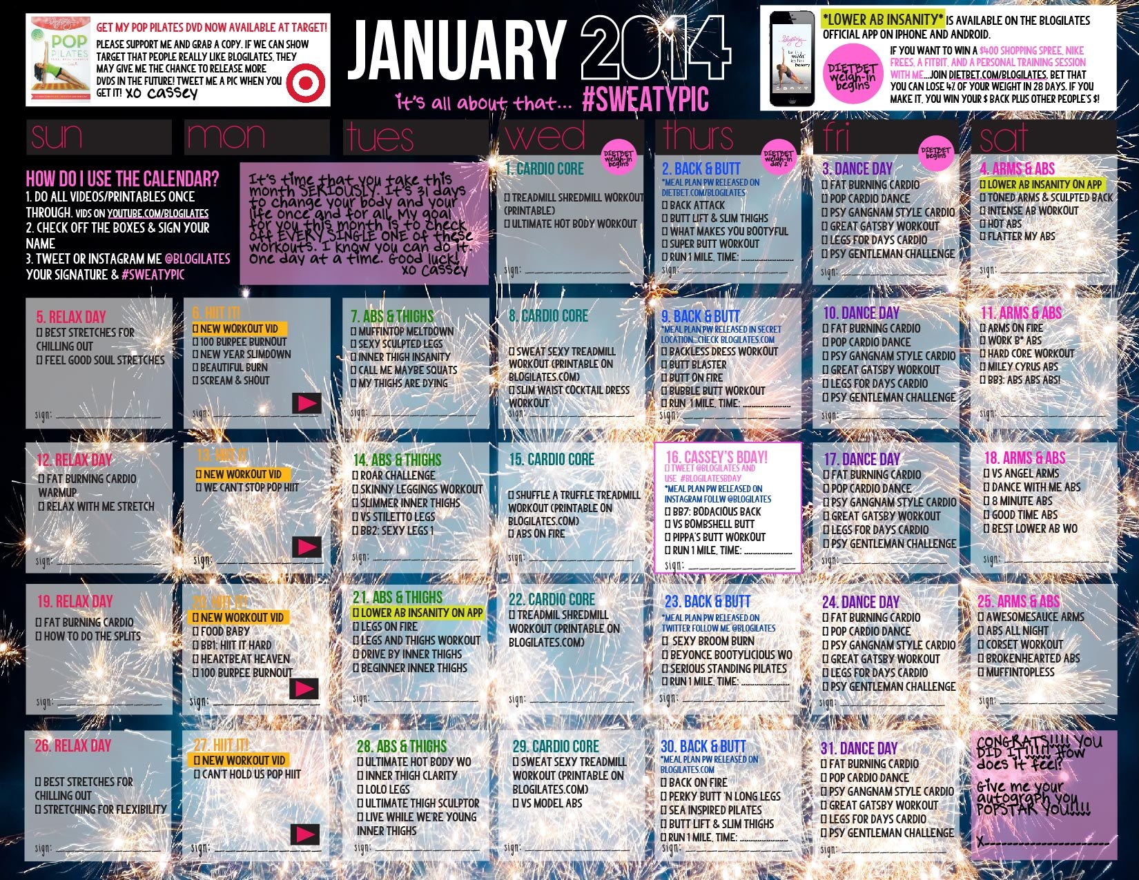 graphic regarding Insanity Workout Schedule Printable titled Your Formal January Training Calendar is listed here! Blogilates