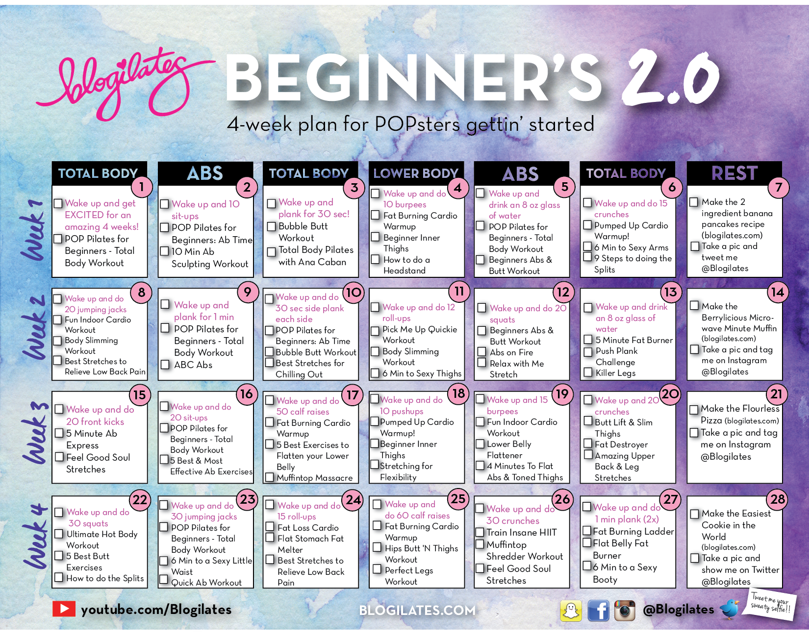 30 Day Printable Workout Schedule January 2016 Calendar