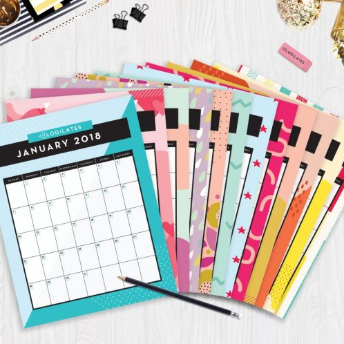 Cute 2018 Printable Monthly Calendars