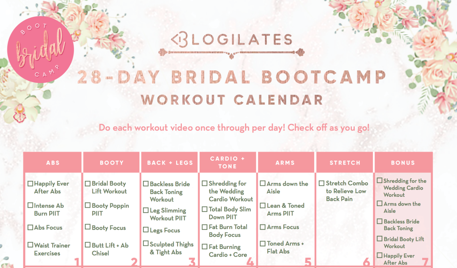 9bb2406ba6e 28-Day Bridal Bootcamp Workout Calendar – Blogilates