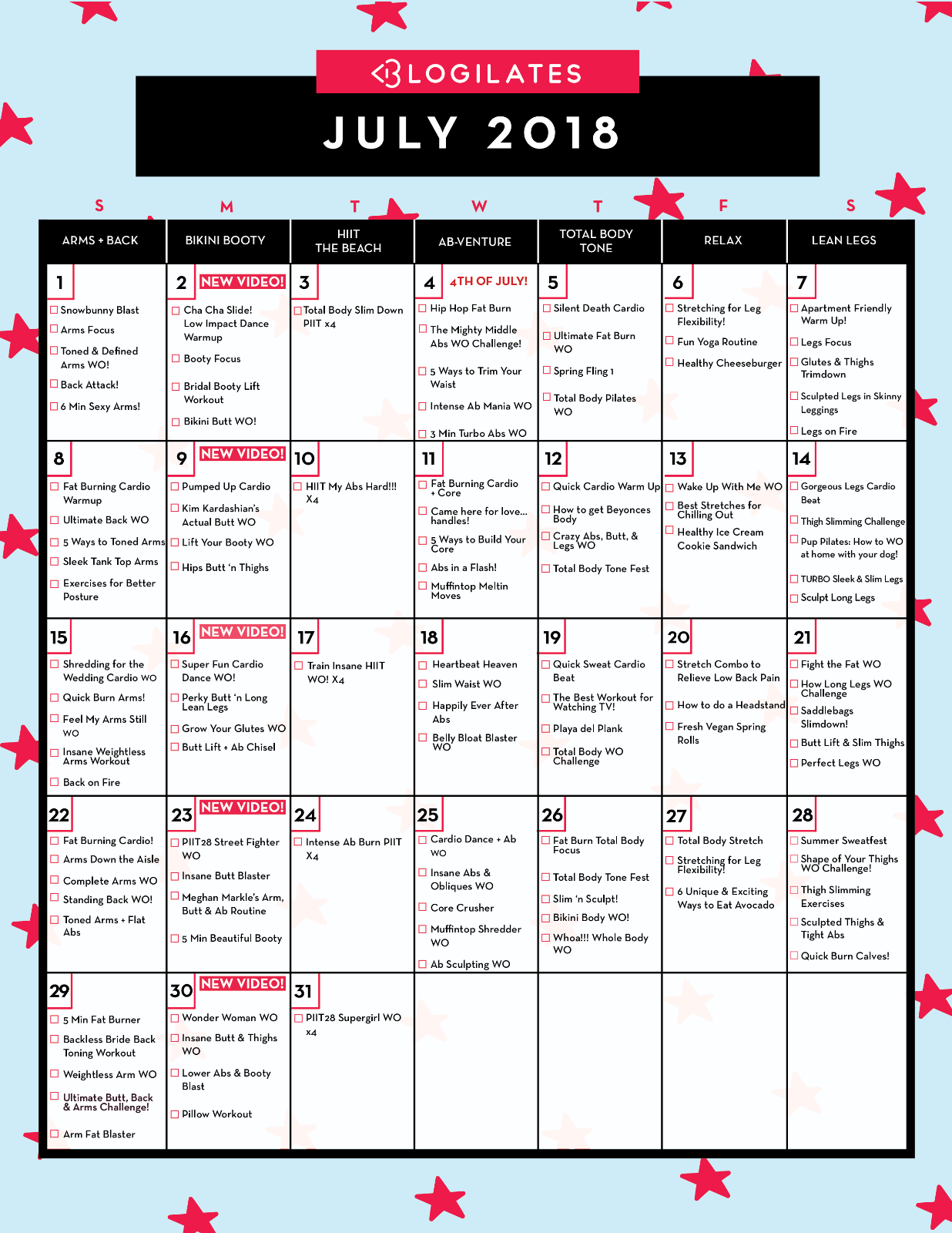 Your July 2018 Workout Calendar Blogilates