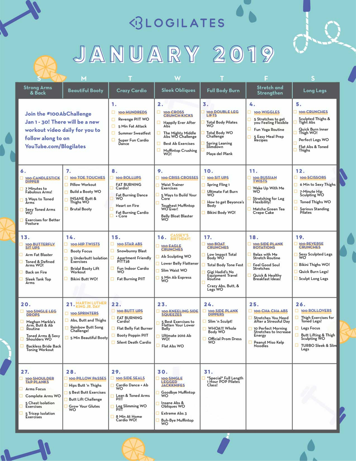 Blogilates Calendar February 2019 Calendar Archives – Blogilates
