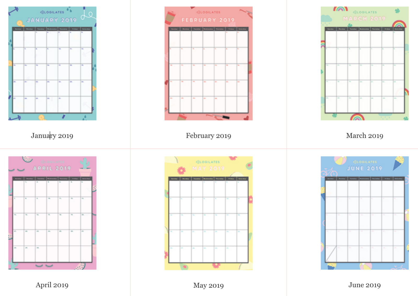 The Legit Cutest 2019 Printable Calendars Blogilates