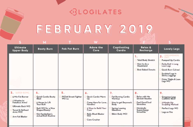 Blogilates Calendar February 2019 Your February Workout Calendar! – Blogilates