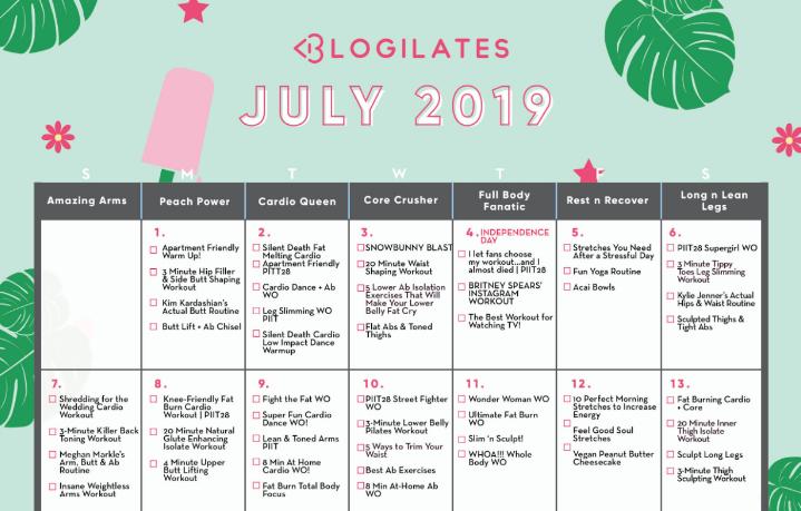 Blogilates June 2020 Calendar Calendar Archives – Blogilates