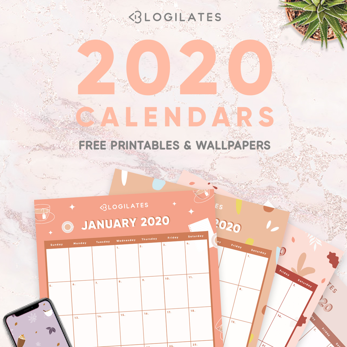 The Cutest 2020 Printable Calendars Free Blogilates
