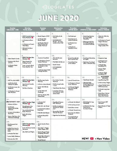 Blogilates January 2022 Calendar.Calendar