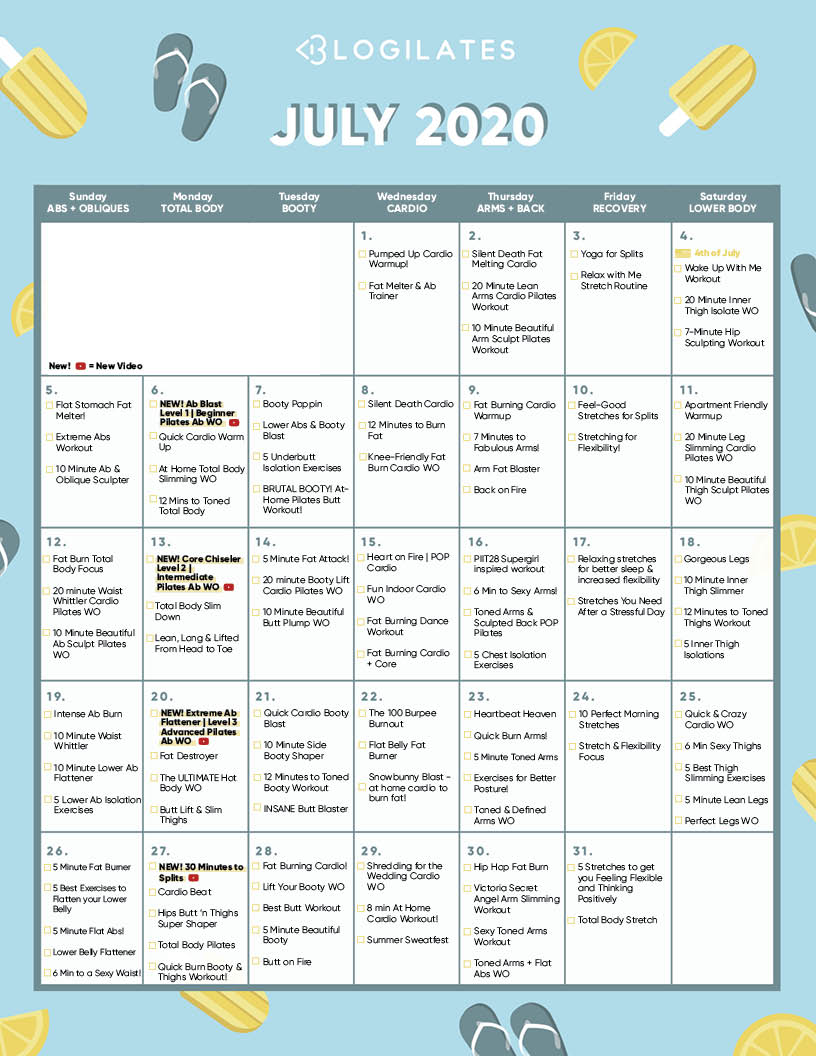 O Blogilates julho 2020 Workout Calendar! - Blogilates 16
