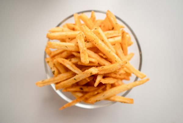 glass bowl of french fries