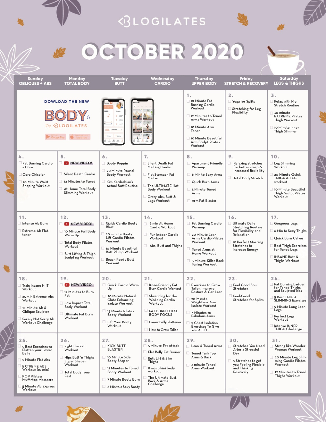 Your Workout Calendar Personalised Calendar From Blogilates