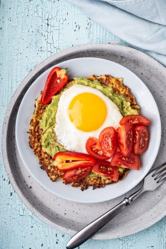 blogilates 90 day journey super hashbrowns with avocado egg and tomato
