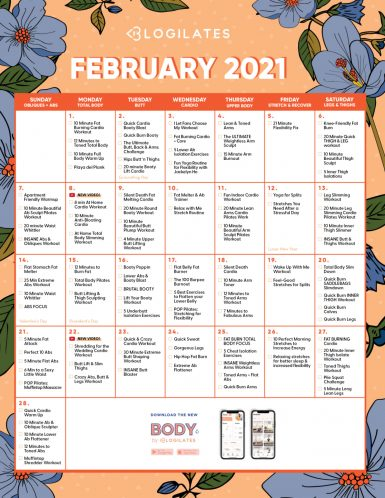 blogilates february 2021 workout calendar